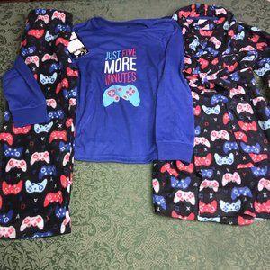 NWT 12 14 gaming robe pajamas 3 pc set top pants